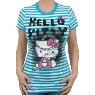 Hello Kitty   Stripy Chained Kitty Girlie Shirt, turquo