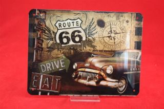 Route 66 Biker Blechschild 20x15 cm geprägt   Schild Sign Motorrad