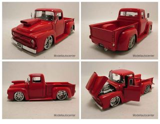 Ford F 100 1956 Pick Up rot Hot Rod / Tuning, Modellauto 1:24 / Jada