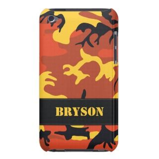 Customizable Orange Camo iPod Touch Case