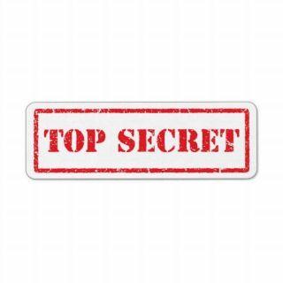 Top secret red distressed label