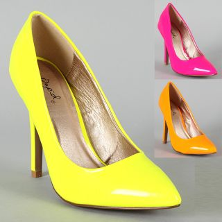 Womens Shoes High Heels Neon Patent Platform Stiletto Pumps Yellow
