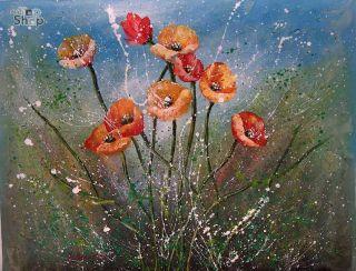 FELD BLUMEN ABSTRAKT OLGEMALDE Gemaelde Ol Bild Oil Painting 67