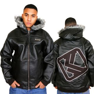 Karl Kani Leaning Logo Kunst Leder Jacke Winter Jacke Gr S M L XL 2