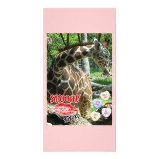 Valentines Day Giraffe Personalized Photo Card