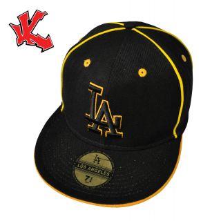 New LA Los Angeles Gold Fitted Flat Peak Baseball Cap 7