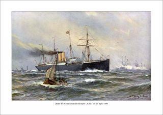 Wilhelm II mit Dampfer Lahn 1890 DEUTSCHE FLOTTE STÖWER 79