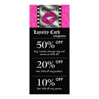 Makeup Artist Marketing Cards Lights Lips Mirror Custom Rack Card