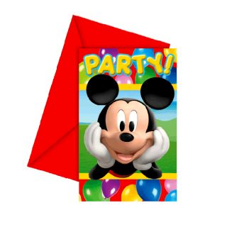 Micky Maus   Party Einladungskarten 6 Stk. Mickey Mouse