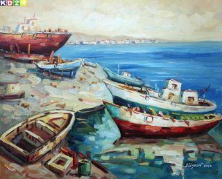 Sylt   Boote auf dem Strand c80699 50x60cm Top Ölgemälde Modern Art