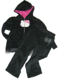 HELLO KITTY 2tlg. Set   Nicki Jacke & Hose, schwarz/Pink/Silber Gr. 98