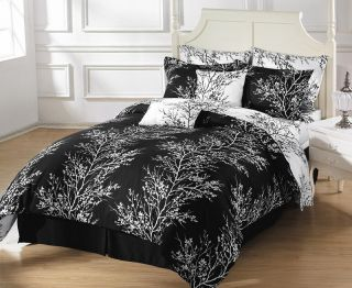 8pcs Reversible Black White Tree Branches Bed in a Bag Comforter Set