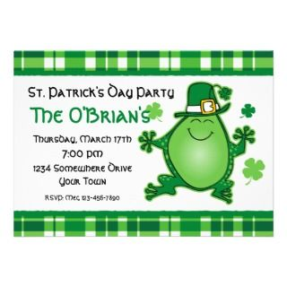 Leprechaun Frog Birthday Party Invitation
