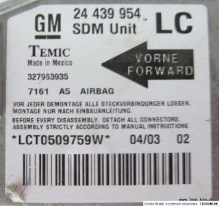 Opel Corsa C Lenkrad mit Airbag u. Steuergerät 24439954 mit Vauxhall
