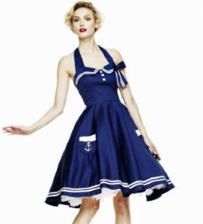 Hell Bunny marineblau Motley 50er Jahre Kleid Bekleidung