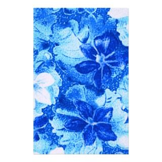 Retro Vintage Violets Bright Blue Stationery