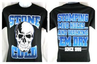 Stone Cold Steve Austin Stomping Mudholes White Skull T shirt New