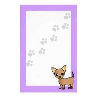 Cute Cartoon Chihuahua   Pawprint Purple Personalized Stationery
