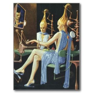 Vintage Science Fiction Spa Beauty Salon Manicures Postcard