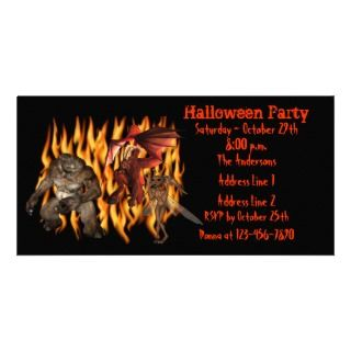Demon Goblin Ogre Halloween Party Invite Photo Greeting Card