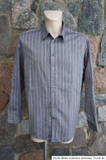 ARMANI Collezioni Hemd Shirt XL/XXL Streifen grau TOP