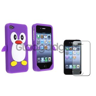 Penguin Purple Silicone Case Bling Glitter Guard Protector For iPhone