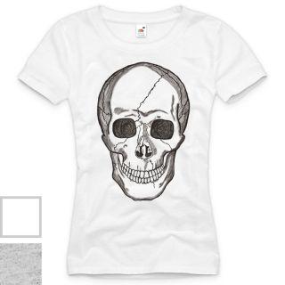 Smiling Skull Damen T Shirt Totenkopf Rocker Punk Style Trend XS S M L