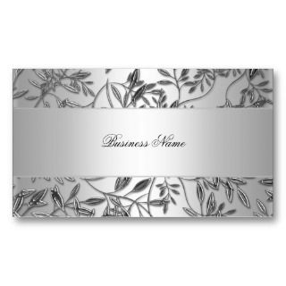 Elegant Business Card Floral Silver Plaque