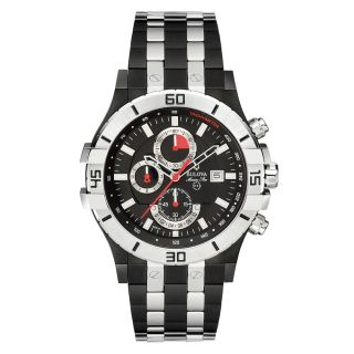 BULOVA MENS STAINLESS STEEL CASE CHRONOGRAPH DATE MINERAL GLASS WATCH