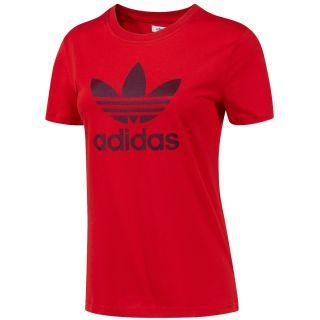 Adidas Originals Damen Trefoil T Shirt rot Tee 100% Baumwolle