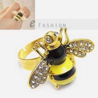 Ring Biene Style Bee Ringe Strass Damen Fingerring NEU 102 0133