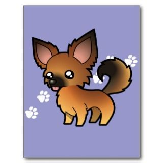 Cartoon Chihuahua (red sable long coat) postcards by SugarVsSpice