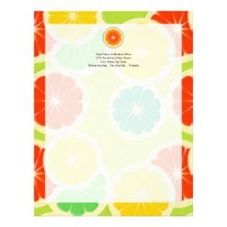 Fresh Citrus Fruit Design, Cute Colorful Letterhead