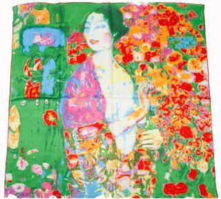 90cm Jungendstil Kunstdruck 100% Seide Malerei Tuch Gustav Klimt   die
