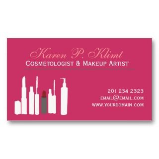 Makeup Artist Blush Red Lipstick Cosmetics Business Cards