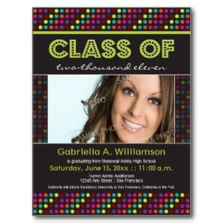 Neon Lights Graduation Announcement (lime) Post Card
