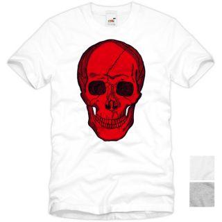 Red Skull T Shirt Totenkopf Rocker Street Wear Skater Tattoo Punk