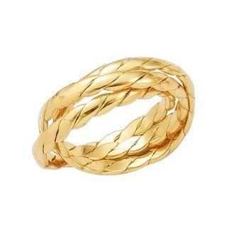 Ringe) Zopf Geflochten Gold plattiert   Größe 54 Schmuck