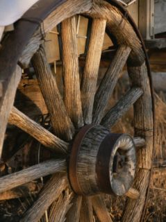 Wagon Wheel on Covered Wagon at Bar 10 Ranch Near Grand Canyon Photographic Print by Todd Gipstein
