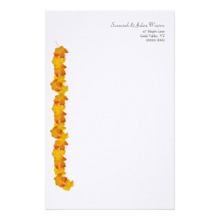 Maple Leaves Fall Theme, Lined Writing Paper Custom Stationery