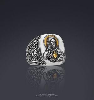 HEILIGSTES HERZ JESU JESUS SILBER 24K GOLD PLATED RING