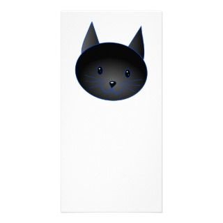 Cute Black Cat. Cat Cartoon illustration. Custom Photo Card