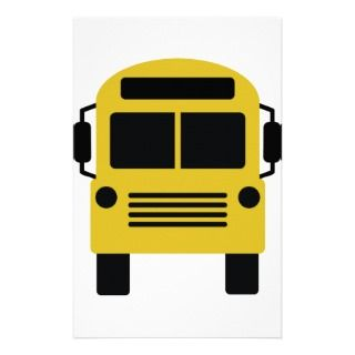 school bus icon stationery design