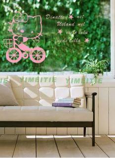 Neu Hello Kitty Fahrrad Fahren Wandtattoo Aufkleber D1057