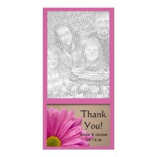 PInk Floral Wedding Thank You Photo Card