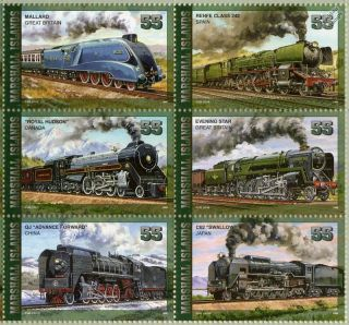 MARSHALL ISLANDS LEGENDARY LOCOMOTIVE Train Stamp Sheet