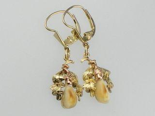 Jugendstil 585 Gelb/Rot Gold Grandel Ohrringe,FB signiert, Jagd