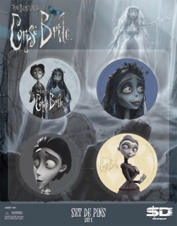 Corpse Bride button badges Anstecker 4er Set *rare *NEU* tim burton`s