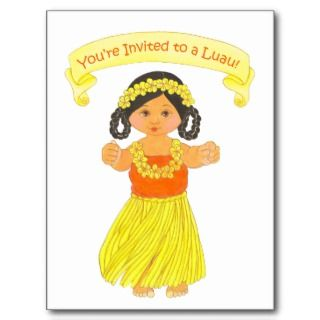 Luau Invitation Cards ~ Hawaii Hula Party Postcards