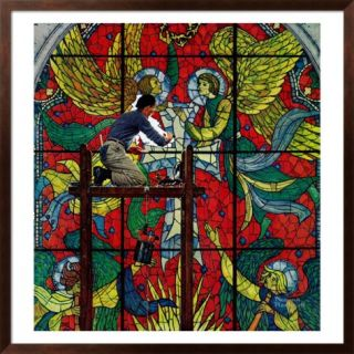 Repairing Stained Glass, April 16,1960 Framed Giclee Print by Norman Rockwell